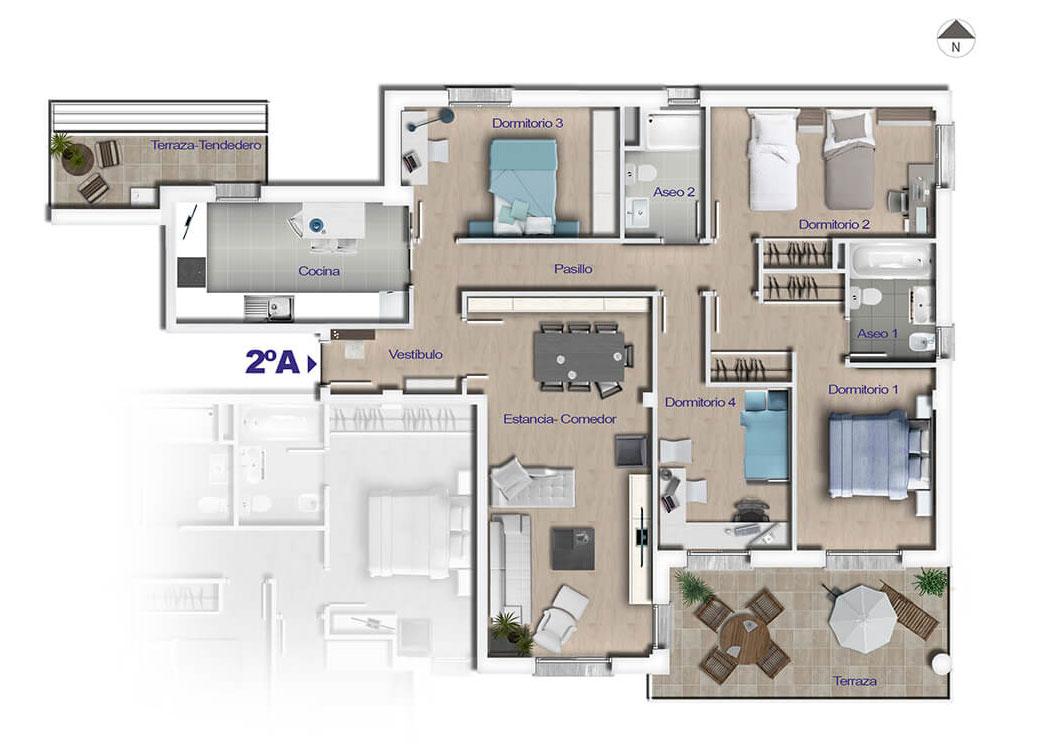 Vivienda de 4 dormitorios con 2 terrazas parque soria for Viviendas para terrazas